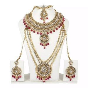 INDIAN BOLLYWOOD STYLE GOLD PLATED WEDDING JEWERLY